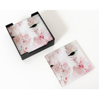 Glass Coaster - Pink Peony Clouds