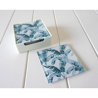 Glass Coaster - Blue Days Banana Palms - (MIN 2)
