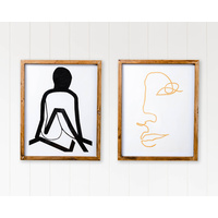 Premium Framed Glass Artwork - Feminine Art Study A - Set of 2 - 40x50