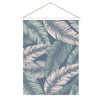 Hanging Scroll - Dusty Blue Botanical Leaves - 65 x 97