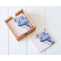 Artist Lab - InkHeart - Black Cockatoo - Ceramic Coaster Set