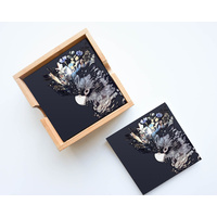 Artist Lab - InkHeart - Blue/Black Cockatoo - Ceramic Coaster Set (MIN 2)