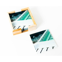 Artist Lab - JD - Stripes Coastal Glass Coaster Set (MIN 2)