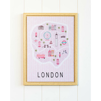 Framed Artwork - London City Map - 30x40