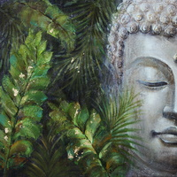 Oil Painting - Emerald Forrest Buddha Right 100 x