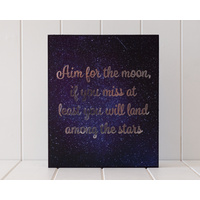 Wooden Plaque - Aim for the Moon - Gold Foil - 30x25 (MIN 2)