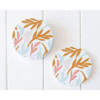 Ceramic Coaster - Bright Leaves - Set 4 - (MIN 2)