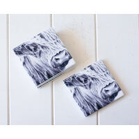 Ceramic Coaster - Side View Bovine B+W - Set 4 - (MIN 2)