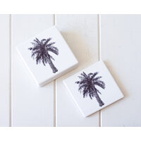 Ceramic Coaster - Palm Sketch A - Set 4 - (MIN 2)