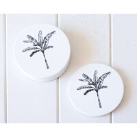 Ceramic Coaster - Banana Palm Solo Black - Set 4 - (MIN 2)