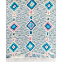Throw Blanket - Batik - Multi/Natural/Teal - 130x160