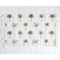 Cotton Mat - Palm Print - White/Olive Green - 80x50