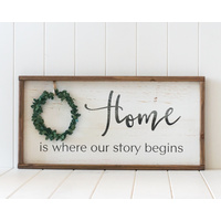 Timber Quote Box/Wall Art - Home - Our Story Begins - 60x30