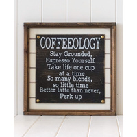 Timber Quote Box/Wall Art - Coffeeology - 37x37