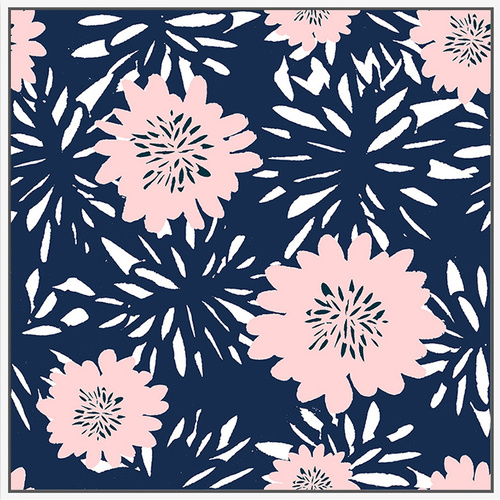 Floating Frame - Camellia Pink Navy - 100x100