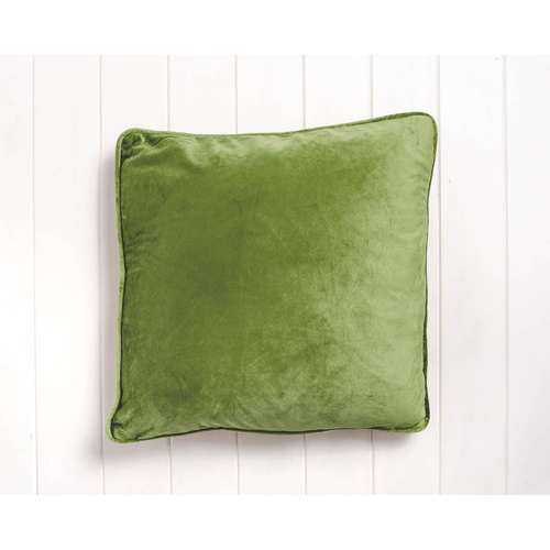 Indoor Cushion - Feather Insert - Olive Green Velvet - 45x45