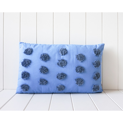 Tufted Cushion - Dusty Blue Spots On Sky Blue - 30x50