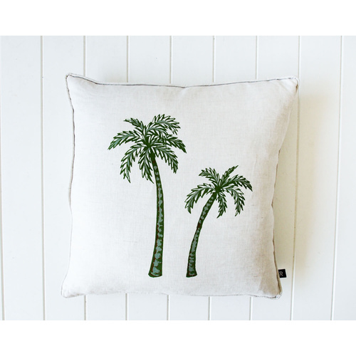 Indoor Cushion - Linen Feather - Twin Palm Natural/Green - 50x50