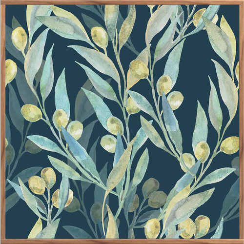 Floating Frame - Olive Branches Dusty Blue - 100x100