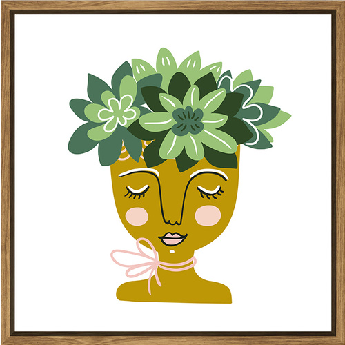 Thin Floating Frame - Flowering Face Planter Green - 30x30