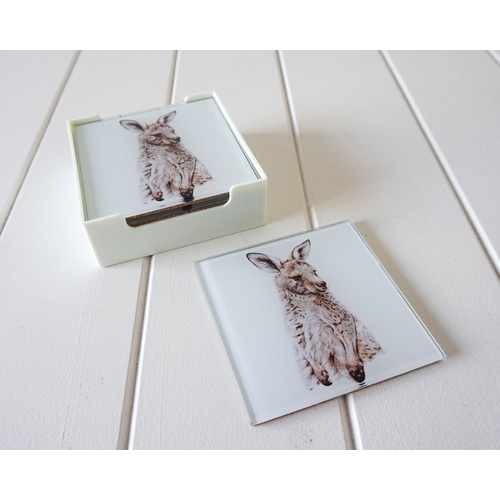 Artist Lab - Rachel Hollis - Eastern Grey Kangaroo - GLASS Coaster Set (MIN 2)