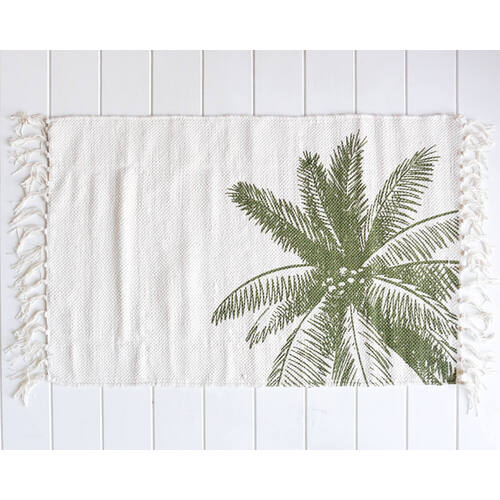 Cotton Mat - Coco Palm - White/Olive Green - 80x50